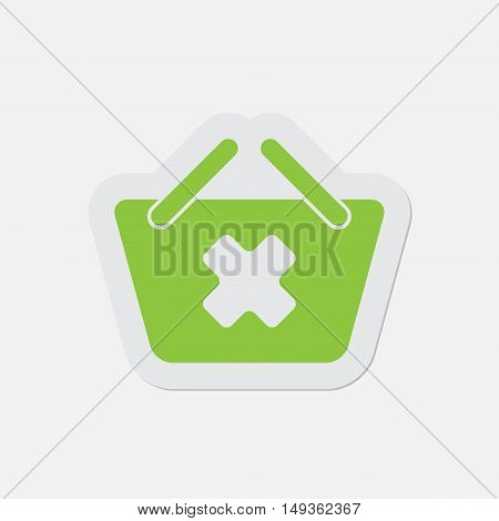 simple green icon with contour and shadow - shopping basket cancel on a white background