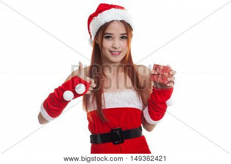 Asian Christmas Santa Claus Girl  Thumbs Up With  Gift Box.