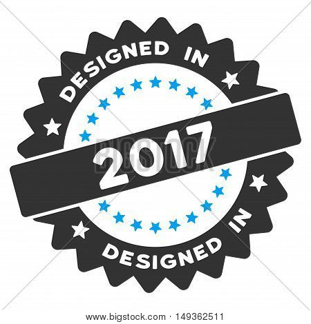 Designed in 2017 Round Seal icon. Vector style is flat iconic symbol on a white background.