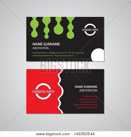 set of two business cards green red black and white colors - Canada and USA standard 35 x 2 in or 889 x 508 mm