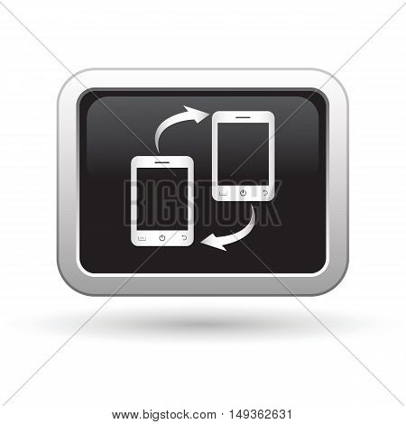 Phone connection icon on the button. Vector illustration