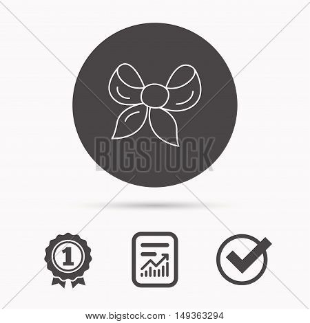 Gift bow icon. Present decoration sign. Ribbon for packaging symbol. Report document, winner award and tick. Round circle button with icon. Vector
