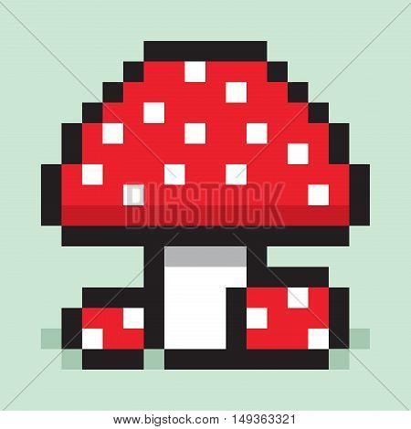 Pixel art, minimalist mushroom, big and small amanita, flat web icon, vector design object