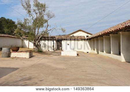 LOMPOC, CALIFORNIA - SEPTEMBER 21, 2016: Inner Courtyard la Purisima Mission. The mission is the most restored of the 21 Spanish Missions.