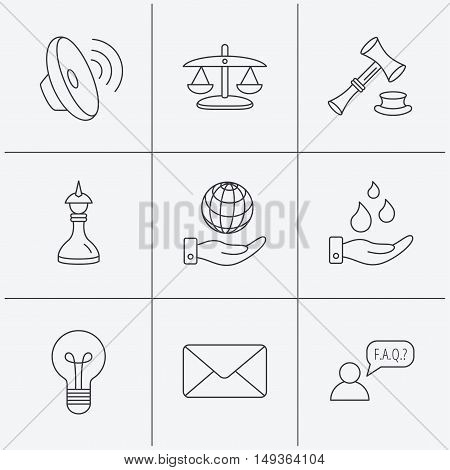 Strategy, auction and scales of justice icons. Save planet, water and lamp lightbulb linear signs. Faq and law hammer flat line icons. Linear icons on white background. Vector