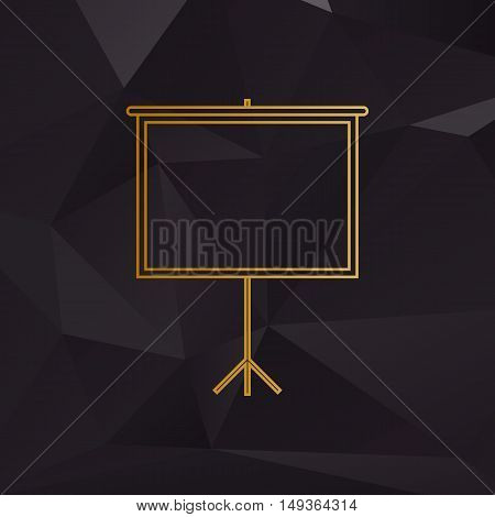 Blank Projection Screen. Golden Style On Background With Polygons.