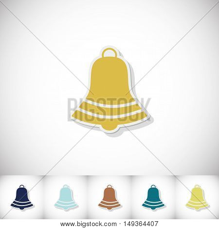 Christmas bell. Flat sticker with shadow on white background. Vector illustration