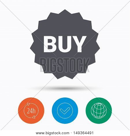 Buy icon. Online shopping star symbol. Check tick, 24 hours service and internet globe. Linear icons on white background. Vector
