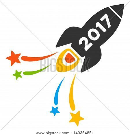 2017 Fireworks Rocket icon. Glyph style is flat iconic symbol on a white background.