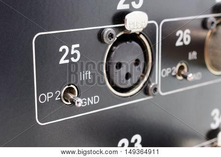 Rear of control panel active studio monitor, connection xlr conector