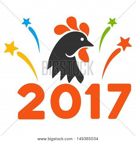2017 Rooster Year Celebration Fireworks icon. Glyph style is flat iconic symbol on a white background.