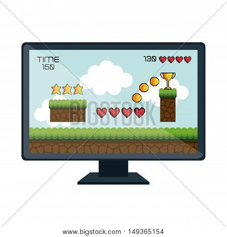video game screen monitor computer technology device. vector illustrator