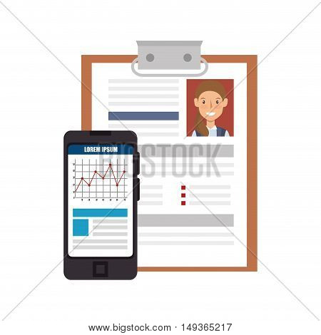 woman curriculum vitae and smartphone device with charts. vector illustration