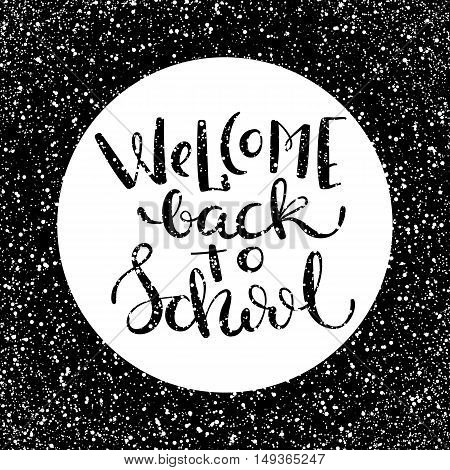 Back to school poster with hand drawn lettering, vector illustration