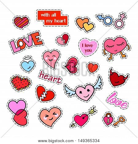Fashion patch badges. Hearts set. Stickers, pins, patches and handwritten notes collection in cartoon 80s-90s comic style. Trend. Vector illustration isolated. Vector clip art.