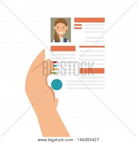 hand holding a woman curriculum vitae document. vector illustration