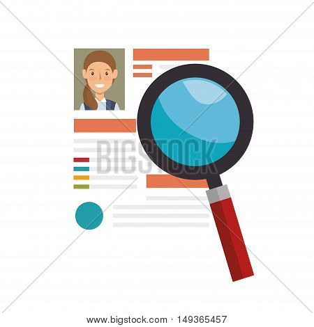 woman curriculum vitae document and magnifying glass tool. vector illustration