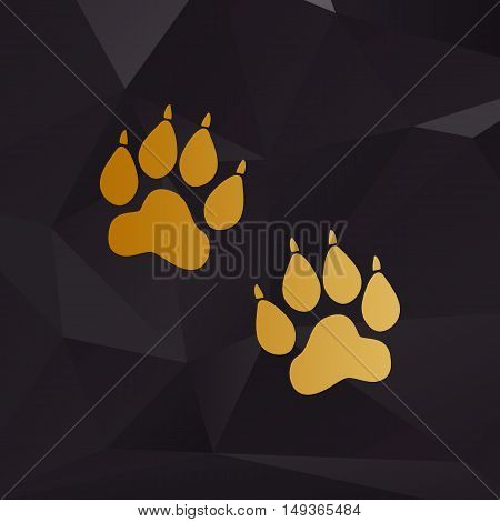 Animal Tracks Sign. Golden Style On Background With Polygons.