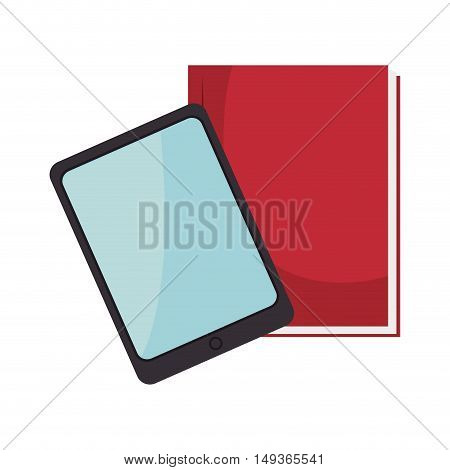 tablet techonology device and red notebook. vector illustration