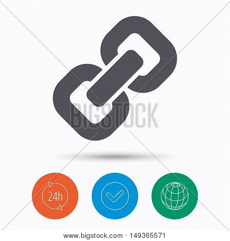 Chain icon. Internet web hyperlink symbol. Check tick, 24 hours service and internet globe. Linear icons on white background. Vector