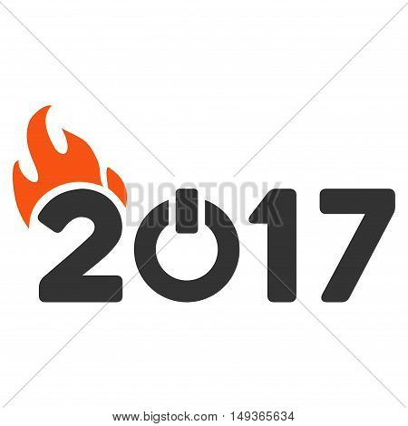 Fired 2017 Year Caption icon. Glyph style is flat iconic symbol on a white background.