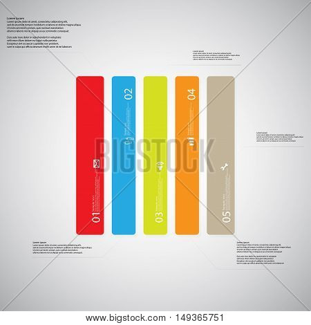 Rectangle Illustration Template Consists Of Five Color Parts On Light Background