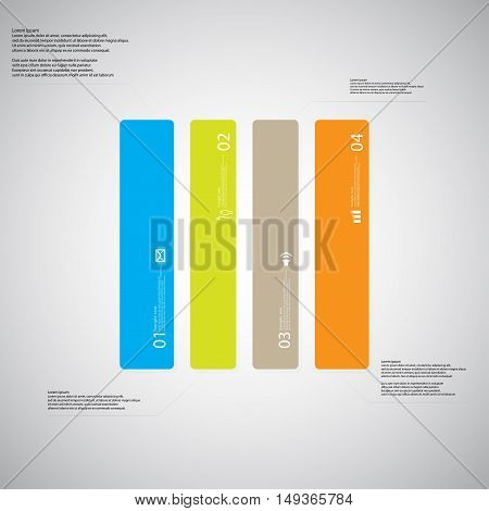 Rectangle Illustration Template Consists Of Four Color Parts On Light Background