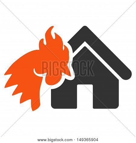 Red Rooster Realty Disaster icon. Glyph style is flat iconic symbol on a white background.
