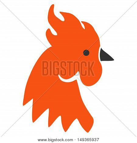 Red Rooster icon. Glyph style is flat iconic symbol on a white background.