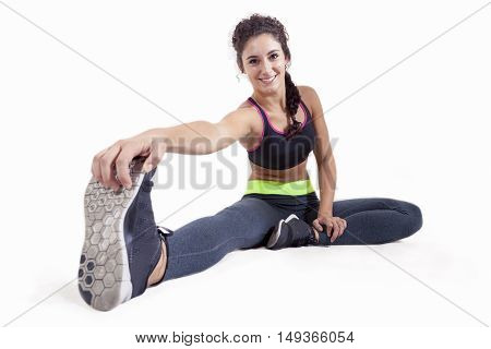 Young Sportswoman Doing Gymnastic Exercises