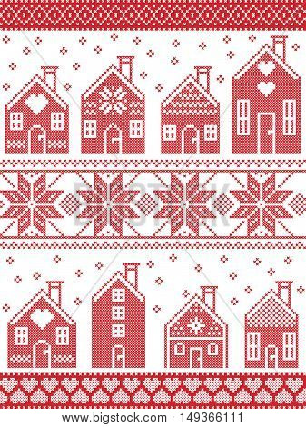 Seamless Scandinavian style and Nordic culture inspired Christmas and festive winter pattern in cross stitch style with gingerbread house village including decorative elements in red and white