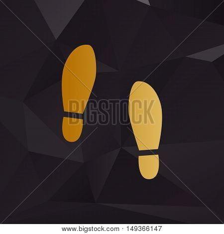 Imprint Soles Shoes Sign. Golden Style On Background With Polygons.