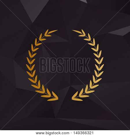 Laurel Wreath Sign. Golden Style On Background With Polygons.