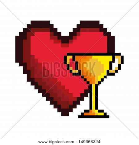 red heart and yellow and winner trophy video game pixel figure icon. vector illustration