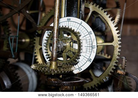 cog wheels at a old clock work