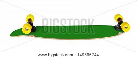 Back and side view of longboard (skateboard) isolated on white background