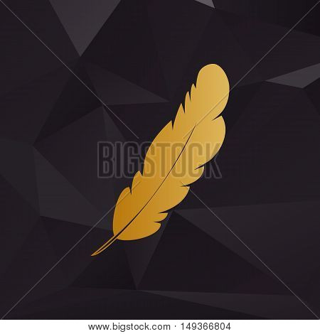 Feather Sign Illustration. Golden Style On Background With Polygons.