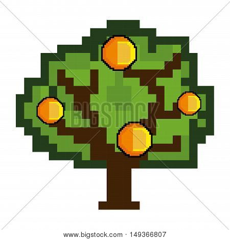 green tree and coins  pixel video game figure. vector illustration