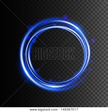 Glow light effect, Swirl trail effect on transparent background, Vector illustration, Magic round frame