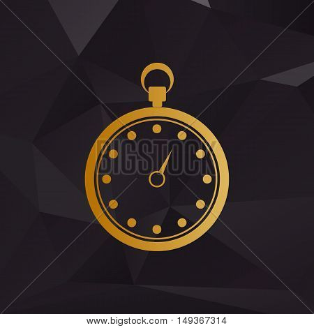 Stopwatch Sign Illustration. Golden Style On Background With Polygons.