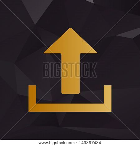 Upload Sign Illustration. Golden Style On Background With Polygons.