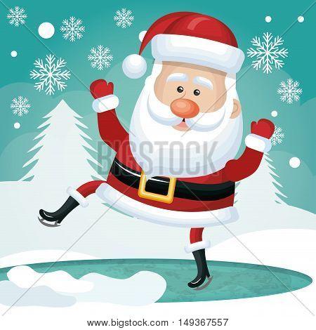 funny santa card happy white pine snowflakes vector illustration