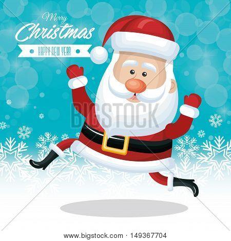 christmas card santa claus funny snow design vector illustration