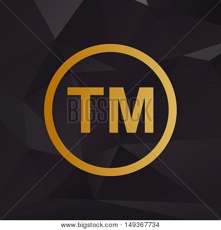 Trade Mark Sign. Golden Style On Background With Polygons.