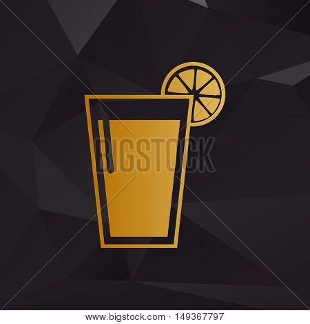 Glass Of Juice Icons. Golden Style On Background With Polygons.