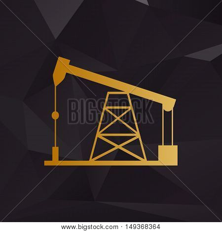 Oil Drilling Rig Sign. Golden Style On Background With Polygons.