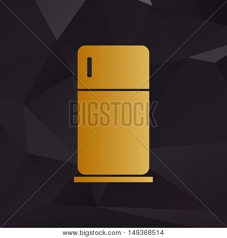 Refrigerator Sign Illustration. Golden Style On Background With Polygons.