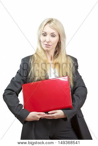 The blonde in a business suit with the red laptop