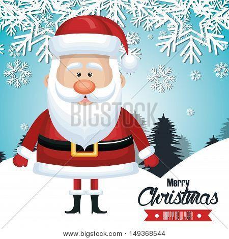 santa claus card merry christmas snowfall tree design vector illustration