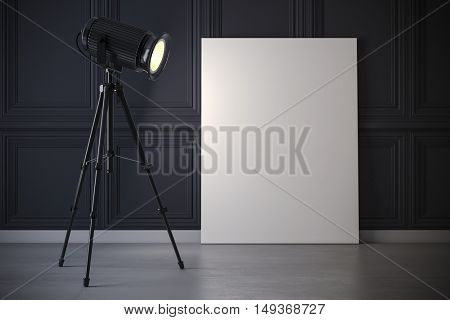 3d studio light projector and blank canvas frame